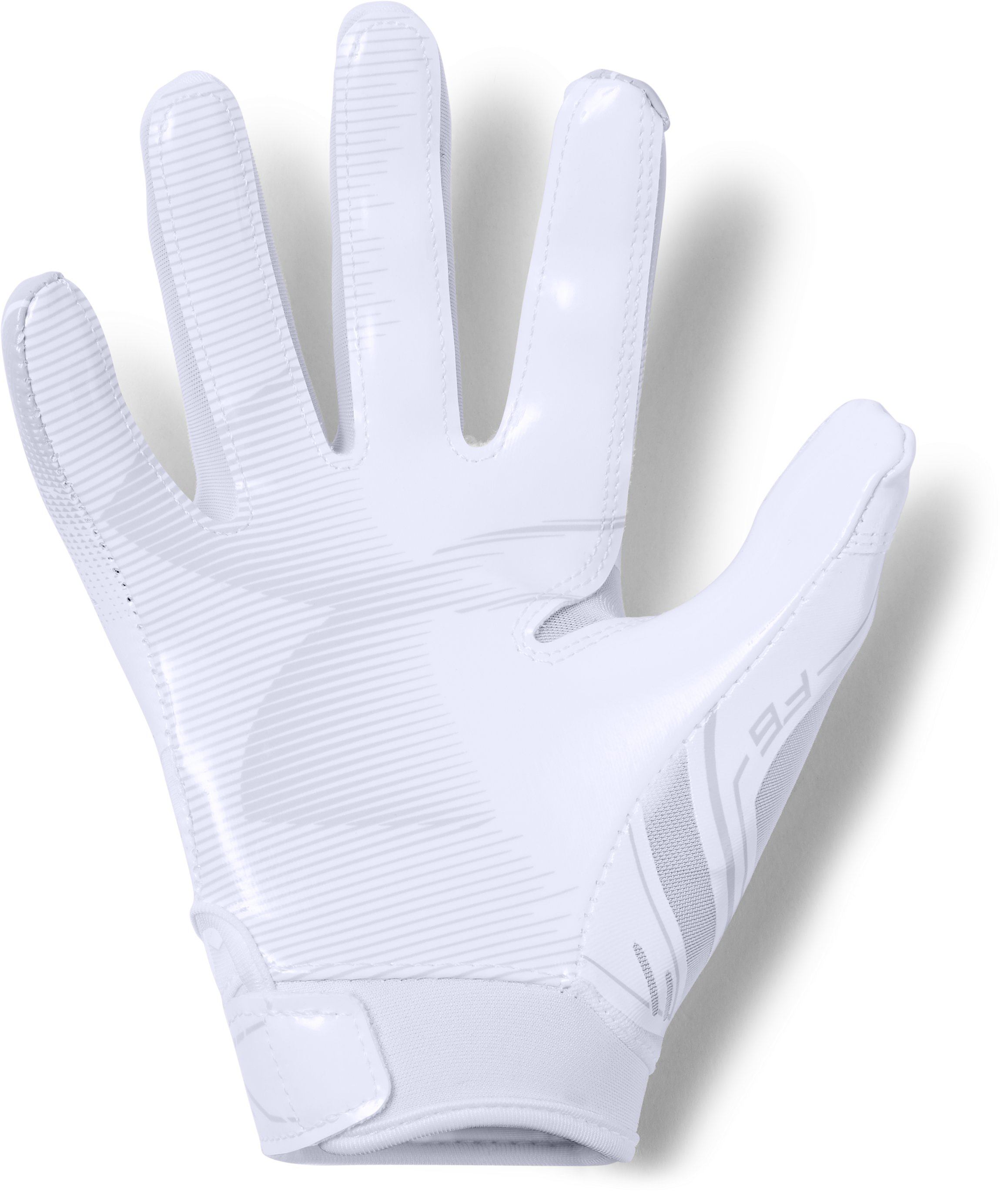 Pee Wee UA F6 Football Gloves, White, zoomed
