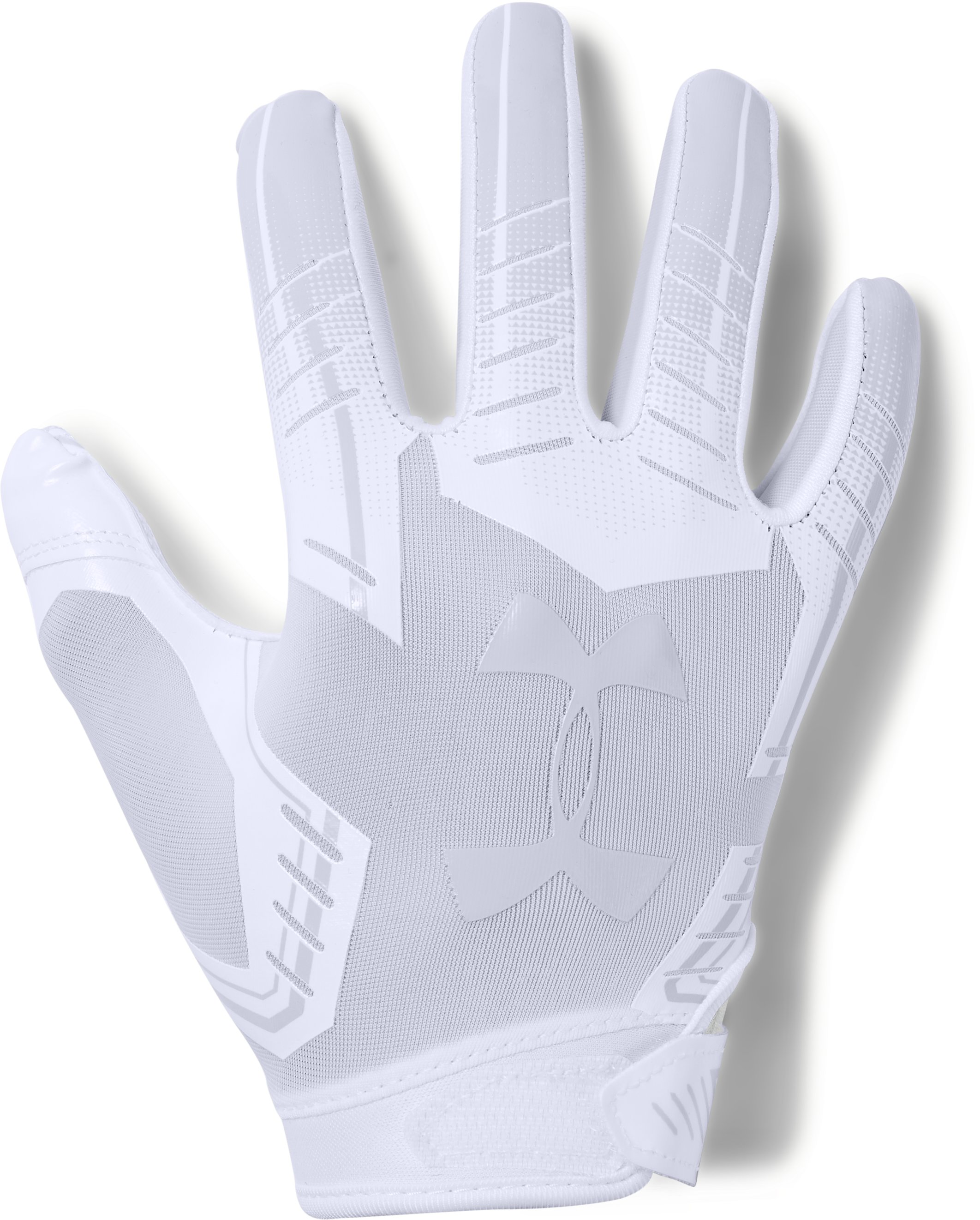 Pee Wee UA F6 Football Gloves, White, undefined