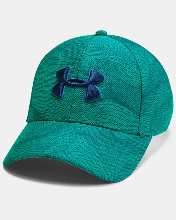 Men's UA Printed Blitzing 3.0 Stretch Fit Cap, Green, pdpMainDesktop image number 0