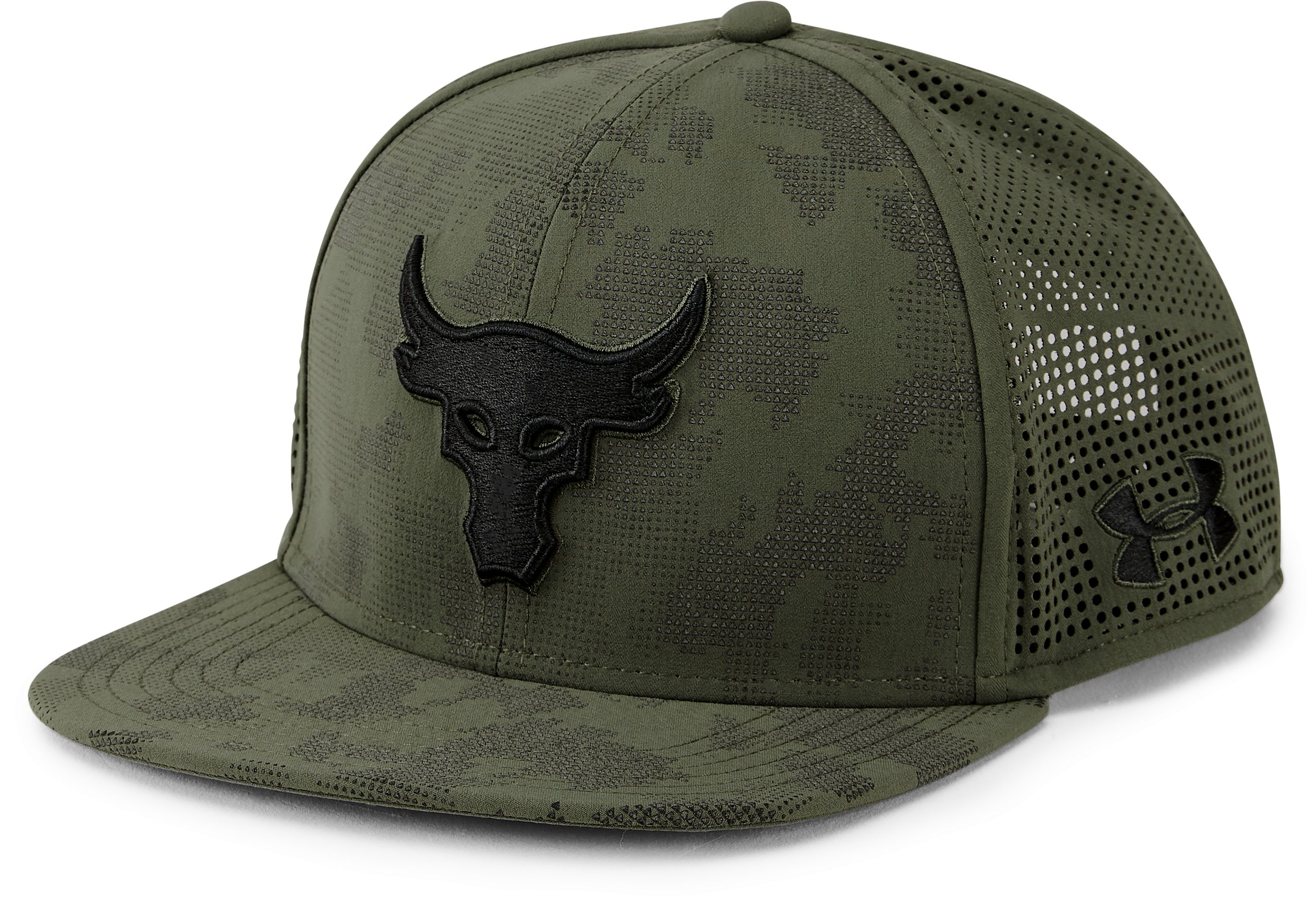 UA x Project Rock SuperVent Snapback Cap, DOWNTOWN GREEN,