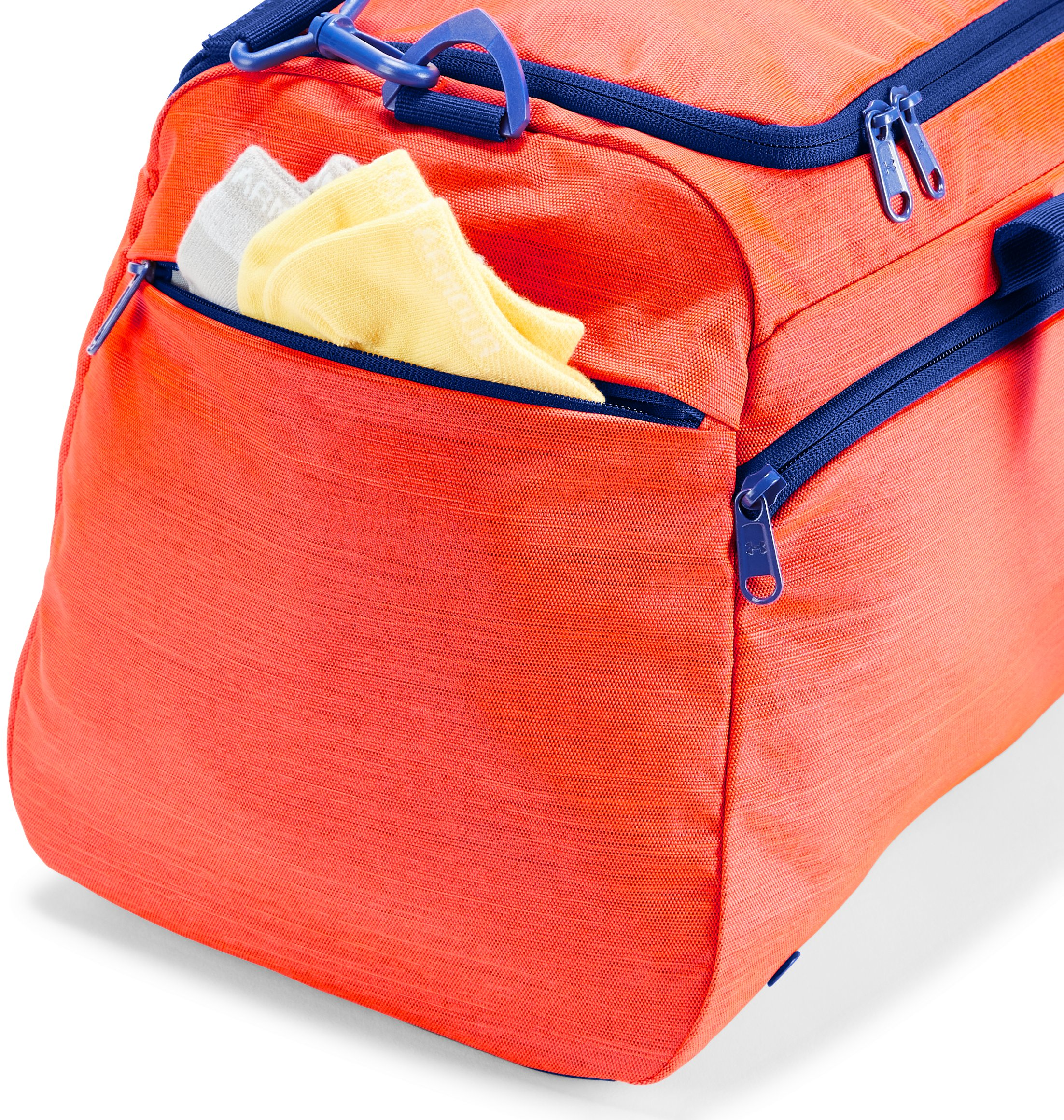 Women's UA Undeniable Duffle- Small, NEON CORAL FULL HEATHER,