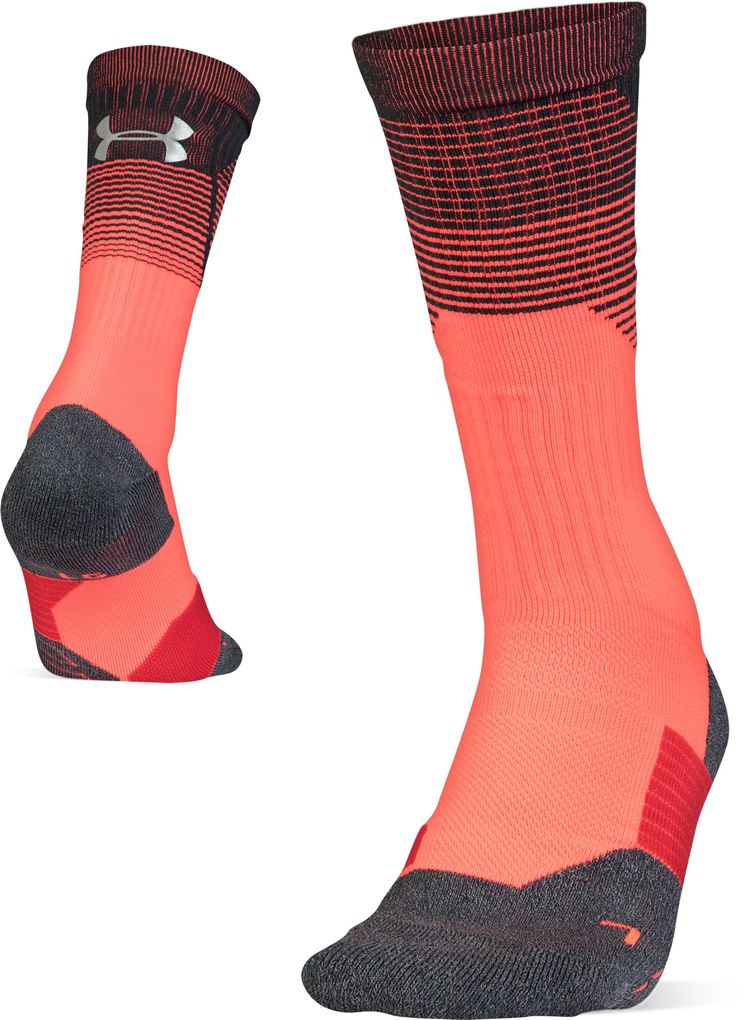 Adult UA ArmourGrip® Crew Socks, NEON CORAL, zoomed