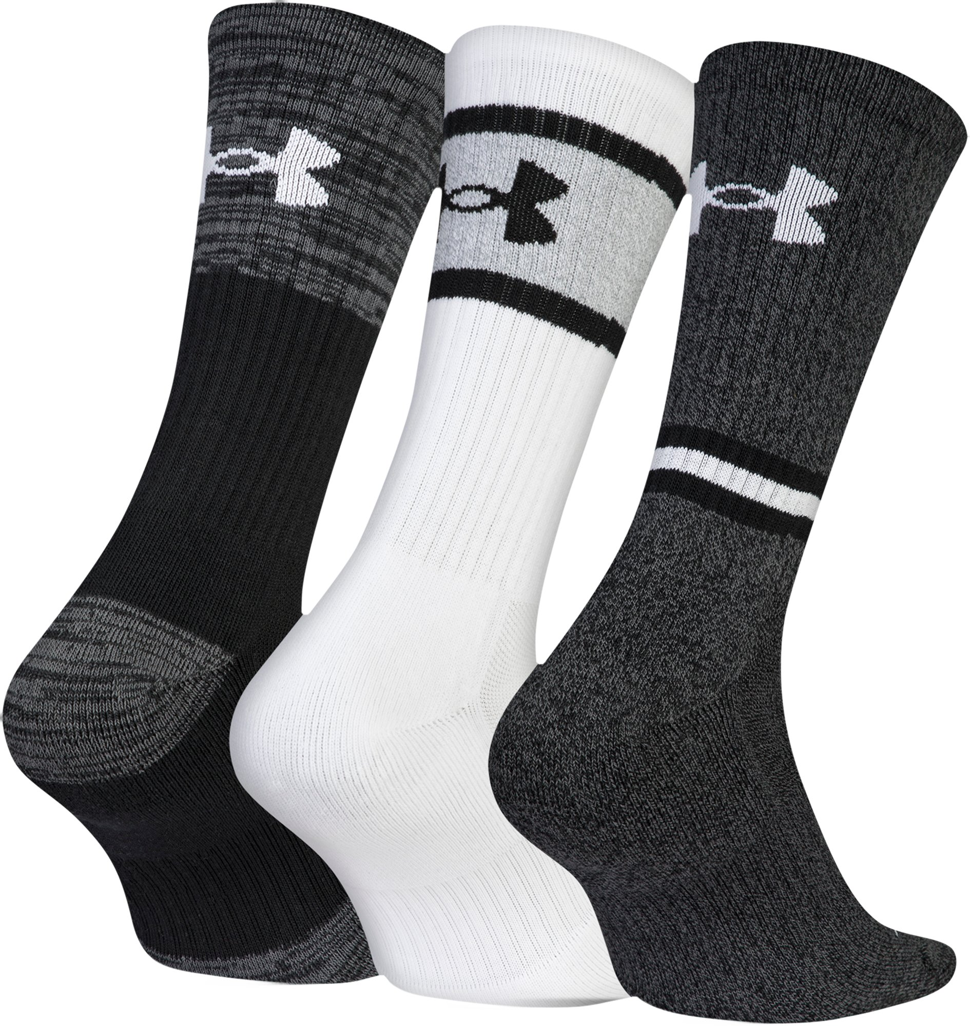 Men's UA Phenom Twisted 2.0 Crew Socks , Black , zoomed
