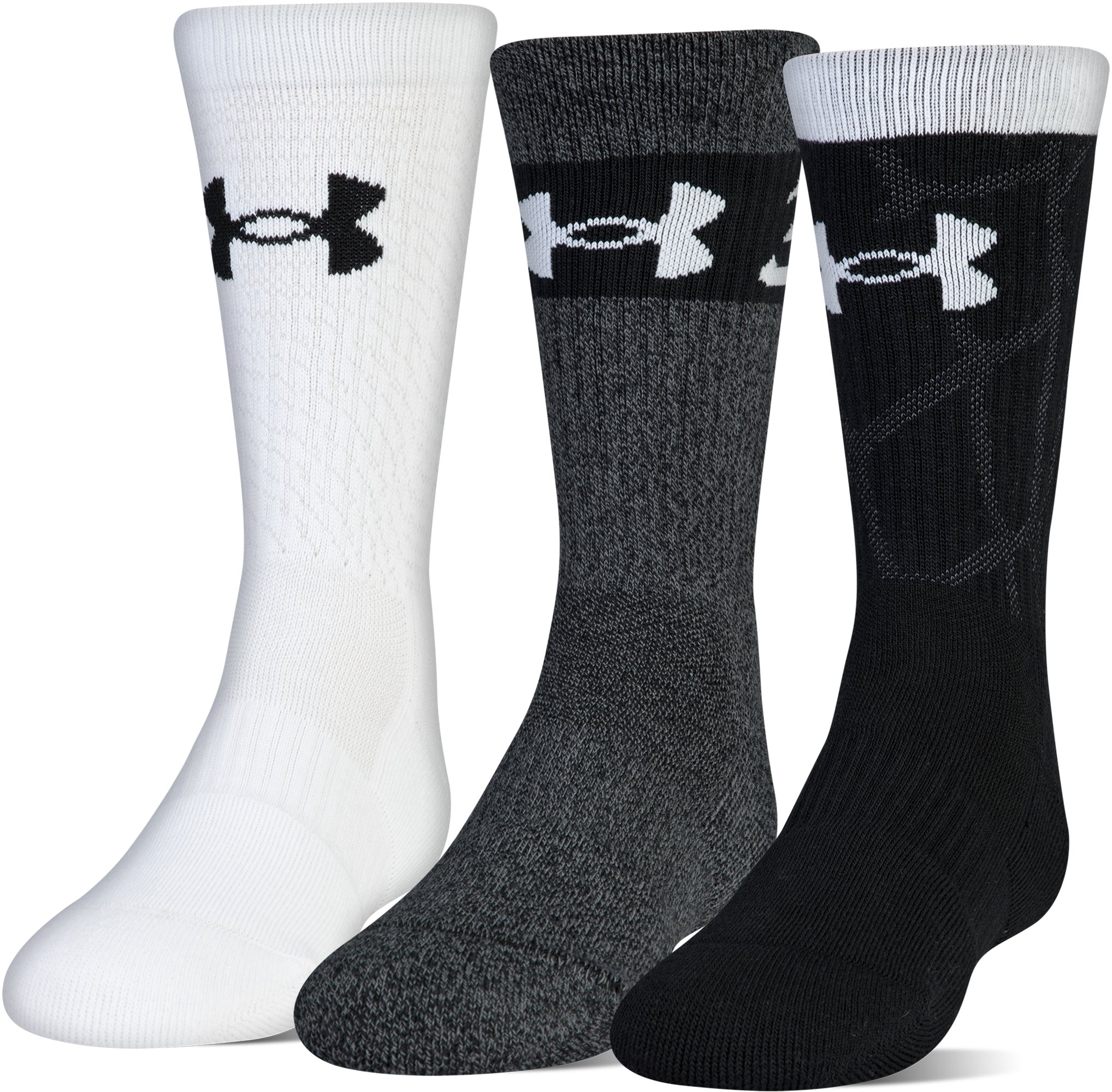 Boys SC30 Phenom 2.0 Crew Socks 3-Pack, Black , zoomed
