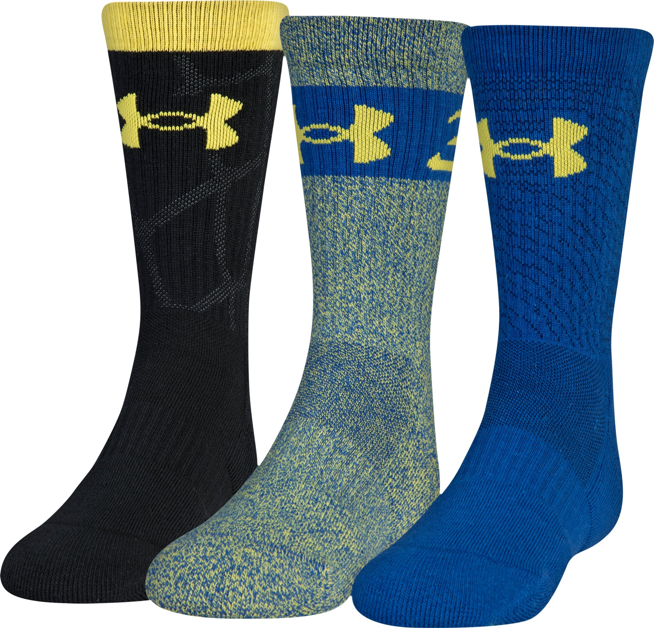 Boys SC30 Phenom 2.0 Crew Socks 3-Pack, Taxi, zoomed
