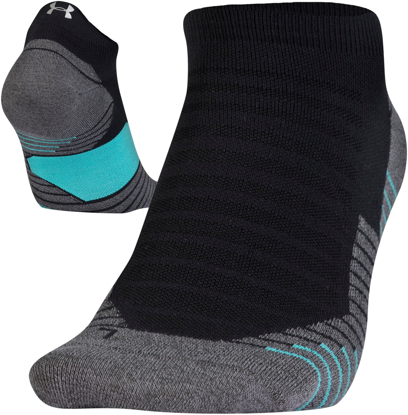 UA Run No Show Tab Running Socks, Black , zoomed