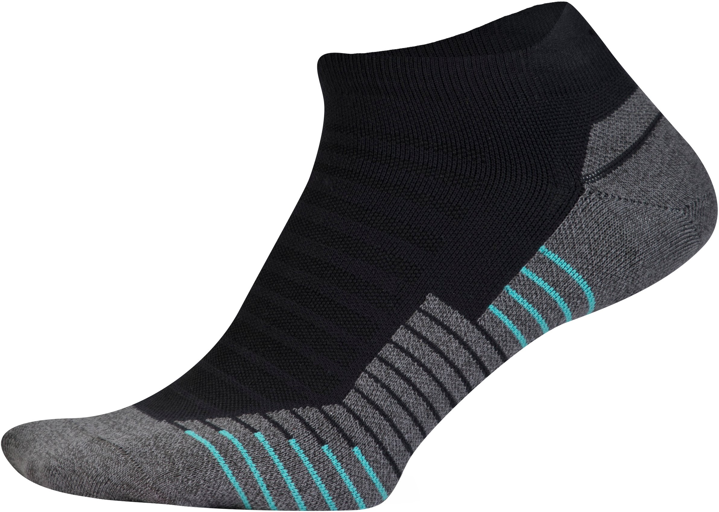 UA Run No Show Tab Running Socks, Black ,