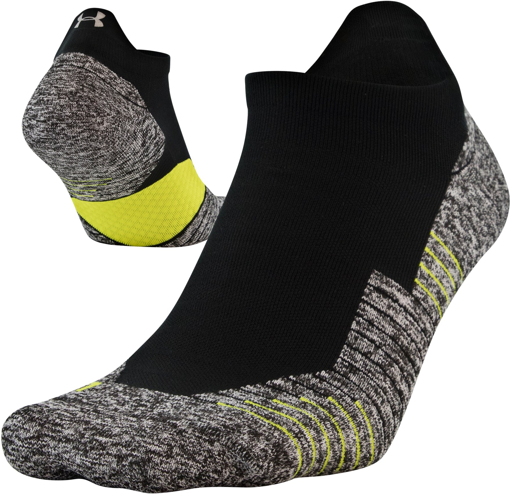 UA Run Cushion No Show Tab Running Socks, Black