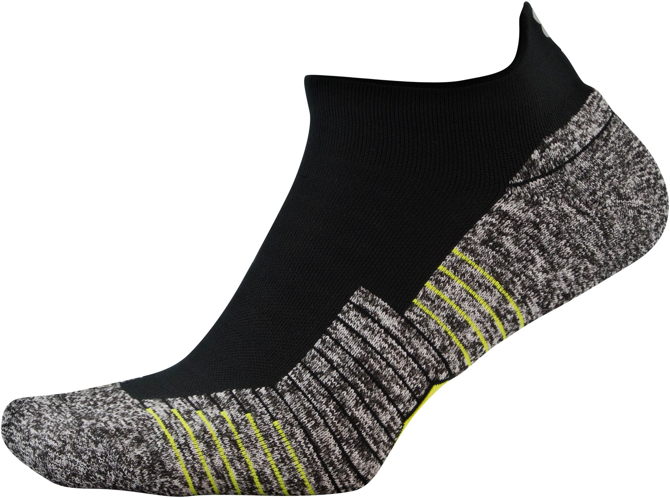 UA Run Cushion No Show Tab Running Socks, Black ,