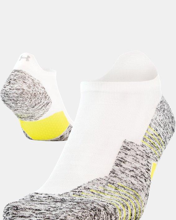 UA Run Cushion No Show Tab Running Socks, White, pdpMainDesktop image number 3