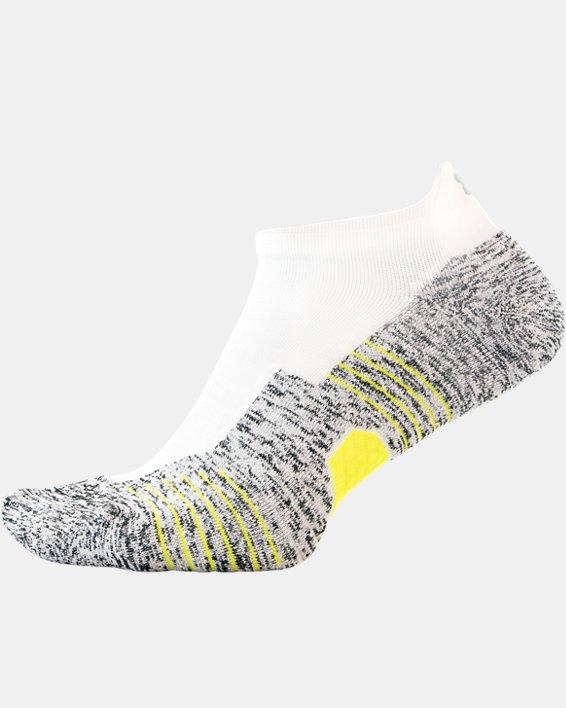 UA Run Cushion No Show Tab Running Socks, White, pdpMainDesktop image number 2