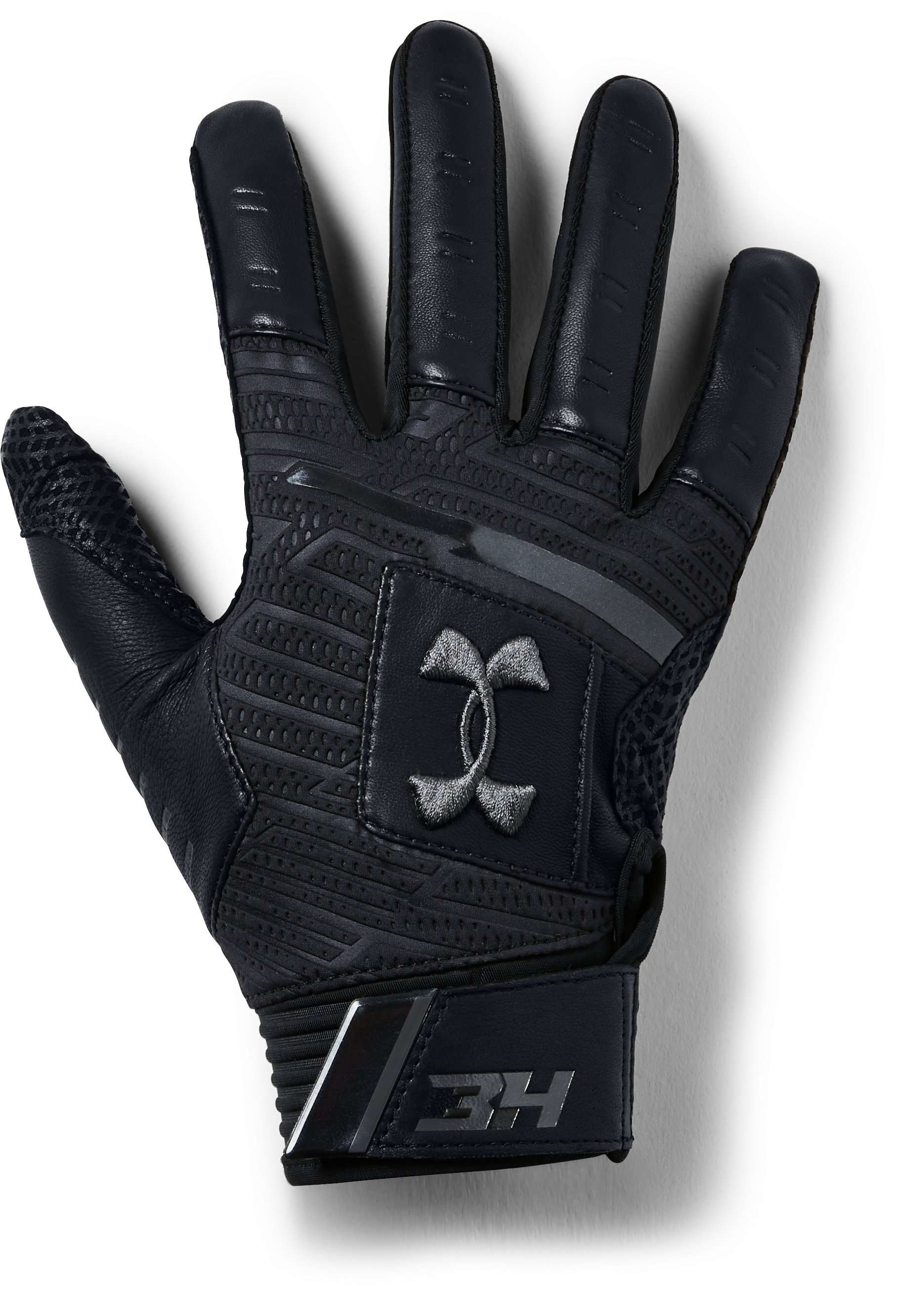 Men's UA Harper Pro Batting Gloves, Black ,