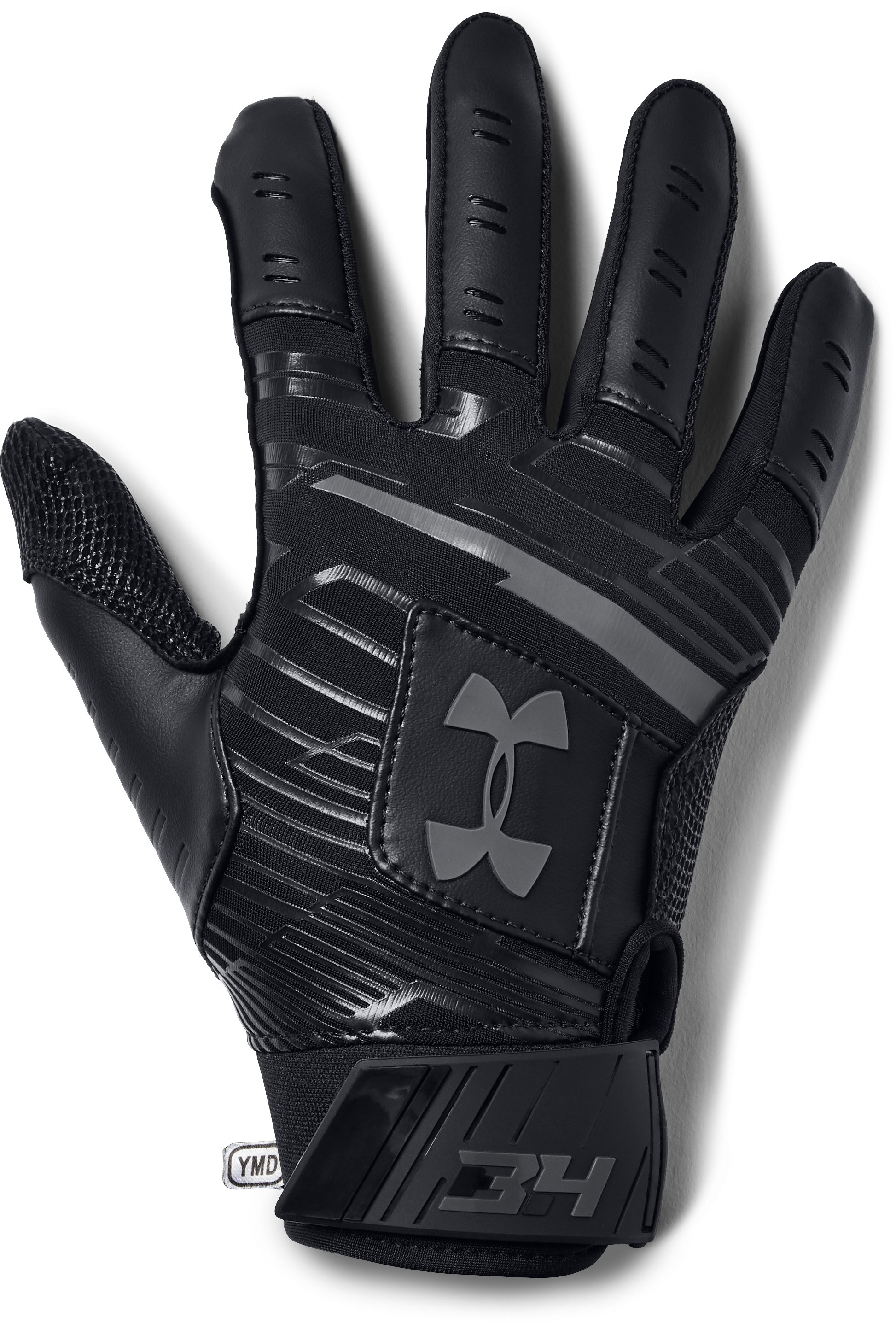 Boys' UA Harper Hustle Batting Gloves, Black , zoomed