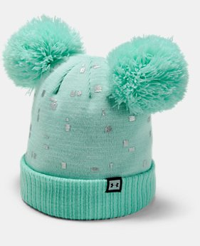 Girls' UA Double Pom Beanie  1  Color Available $25