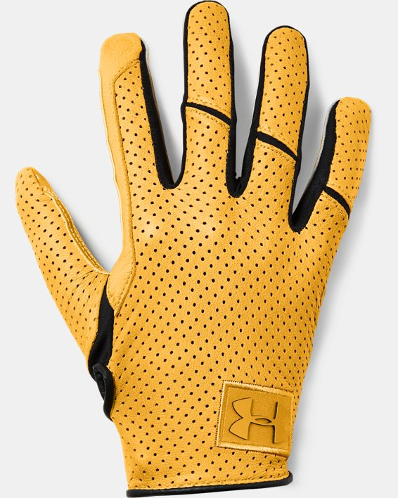 Men's UA Spotlight Lux LE NFL Football Gloves, Yellow, pdpMainDesktop image number 0