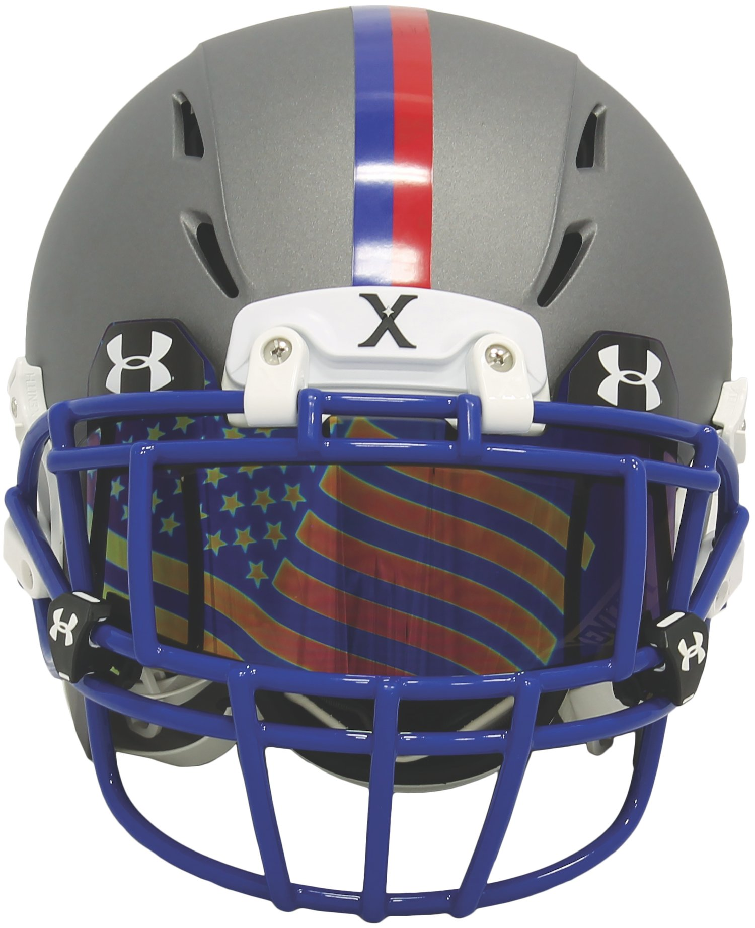 UA Flag Tinted Football Visor, BLUE MIRROR,