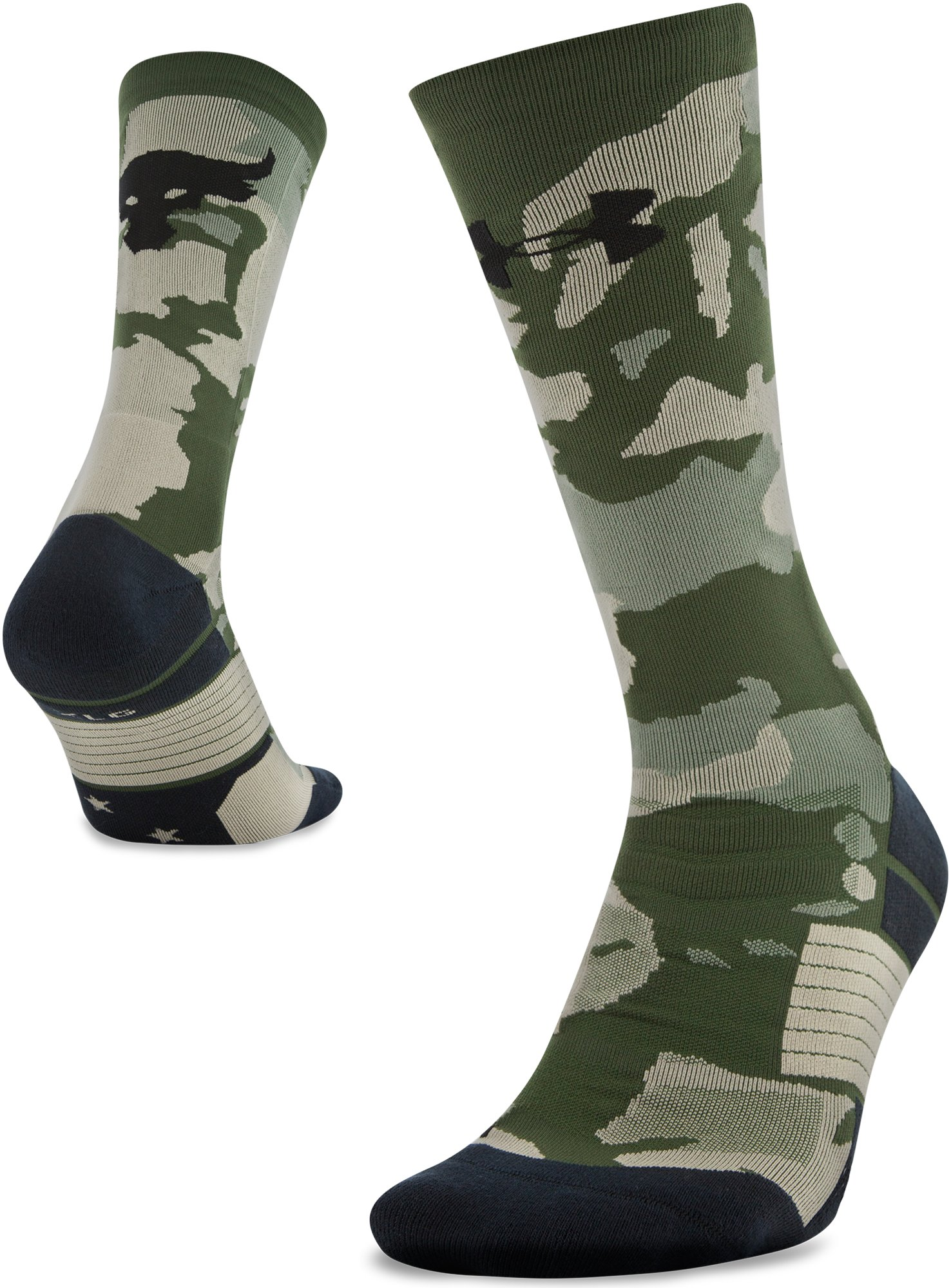 Men's UA x Project Rock Unrivaled Crew Socks, DOWNTOWN GREEN, zoomed