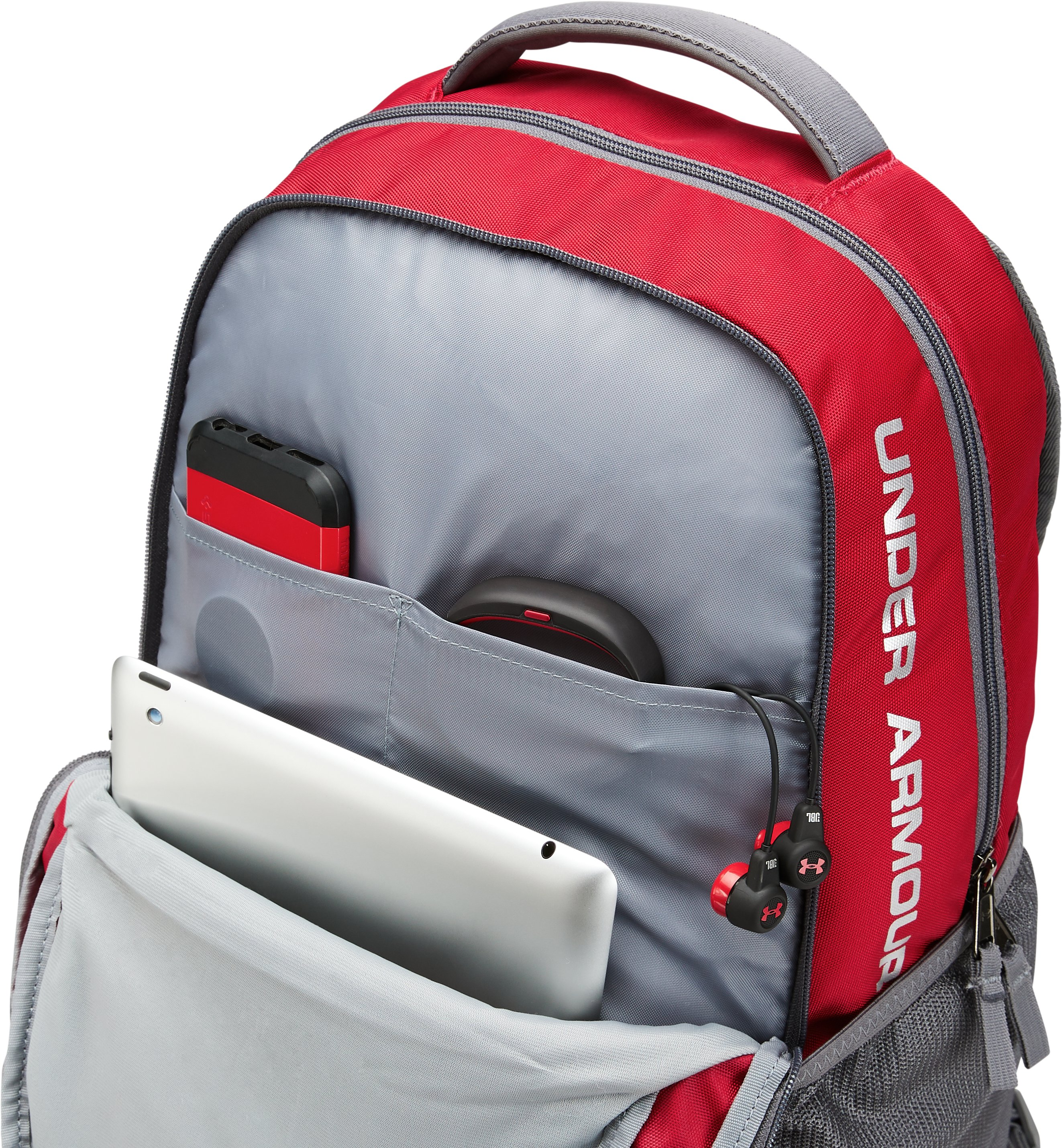 Wisconsin UA Hustle 3.0 Backpack, Flawless,