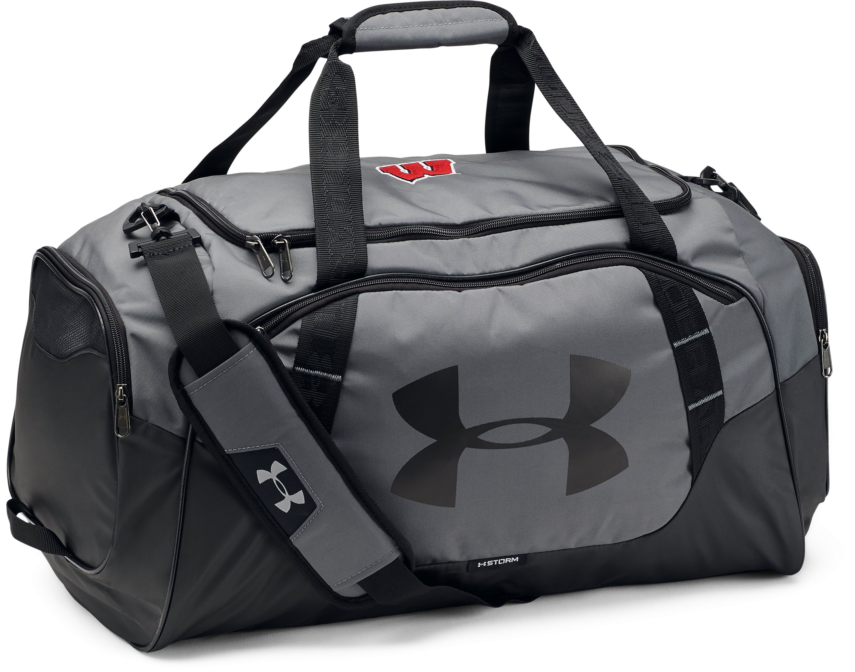 Men's Wisconsin UA Undeniable 3.0 Medium Duffle Bag, Graphite, undefined