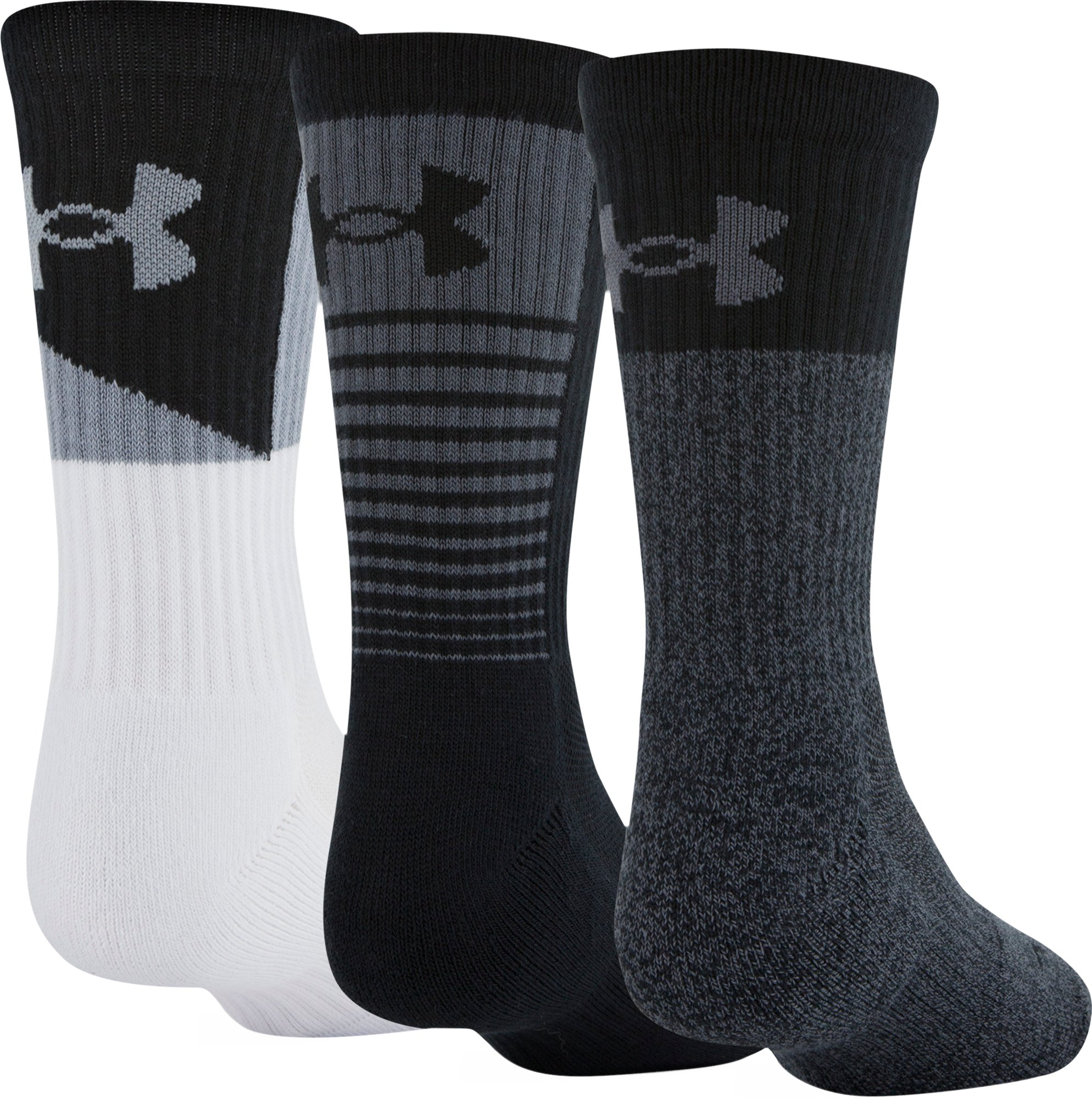 Boys UA Phenom 3.0 Crew Socks, Graphite, zoomed