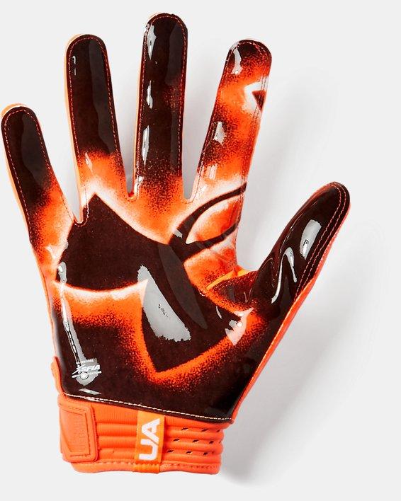 Men's UA Spotlight LE - NFL Football Gloves, Orange, pdpMainDesktop image number 1