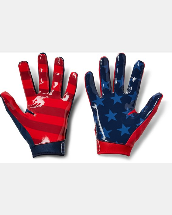 Youth UA F6 LE Football Gloves, Navy, pdpMainDesktop image number 1