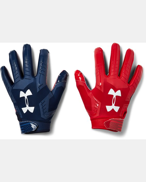 Youth UA F6 LE Football Gloves, Navy, pdpMainDesktop image number 0