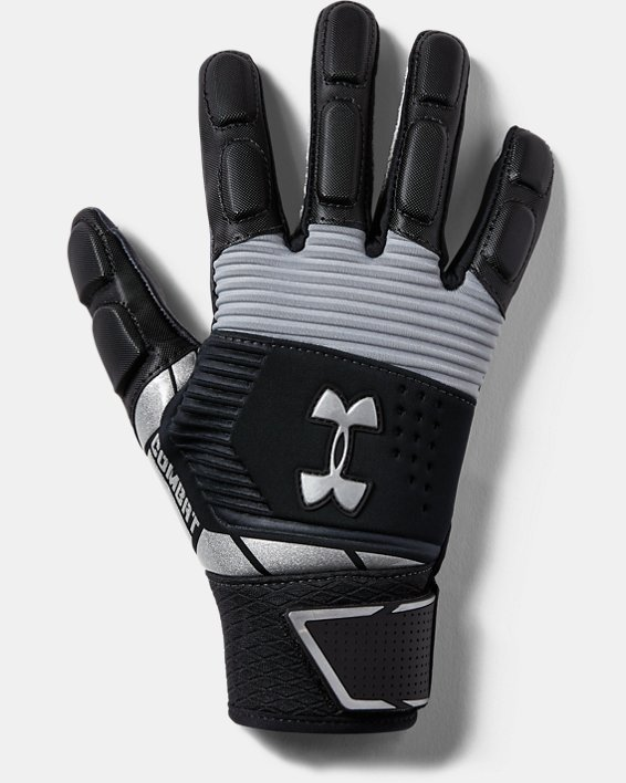 Youth UA Combat Football Gloves, Black, pdpMainDesktop image number 0