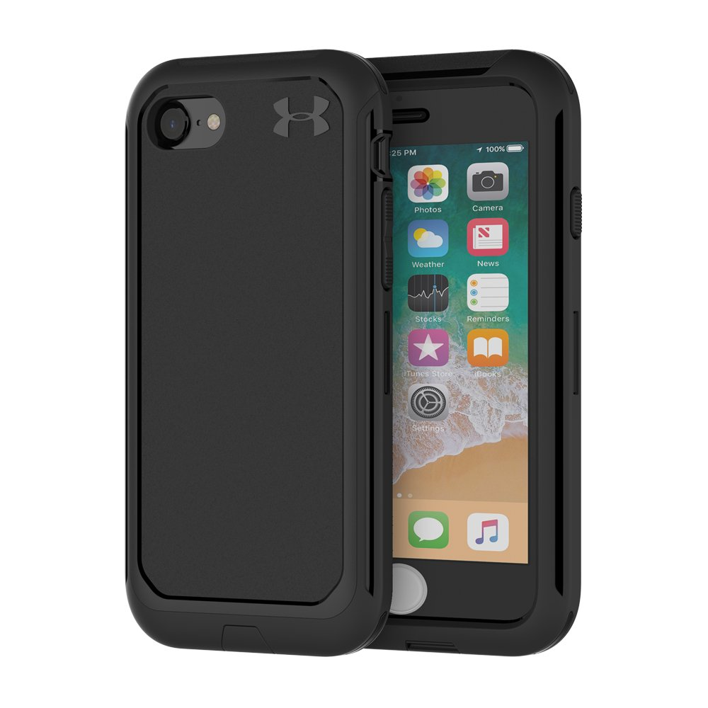 black cases UA Protect Ultimate Case for iPhone 8/7 This really is an ultimate protection for your phone....Not only does it lock in and fit perfectly over the phone, it has a top layer protection for the screen as well....I purchased this case based on good reviews & the fact I love my UA products.