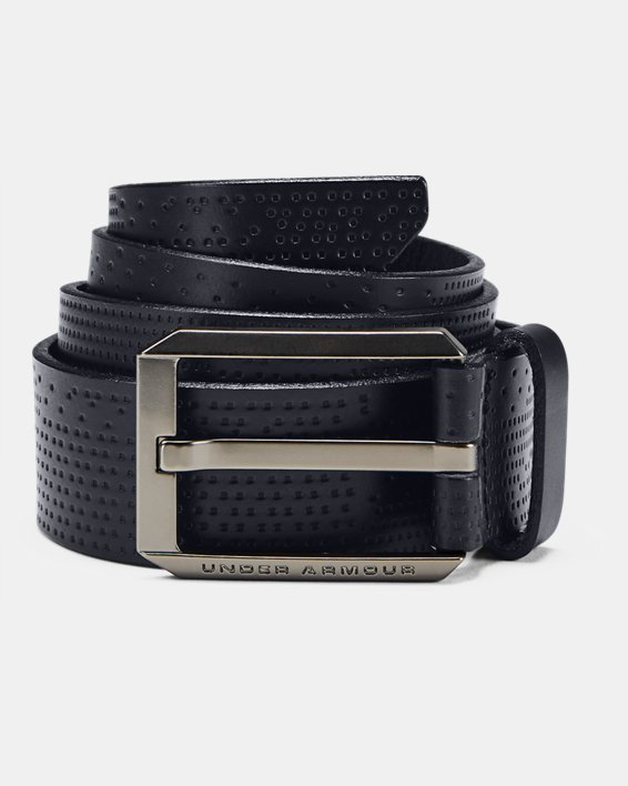 Men UA Laser Perf Leather Belt, Black, pdpMainDesktop image number 0