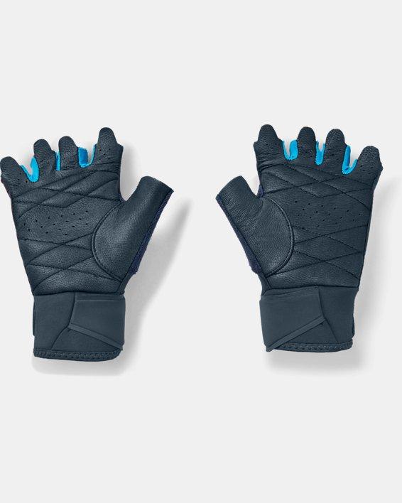Women's UA Medium Training Gloves, Blue, pdpMainDesktop image number 1