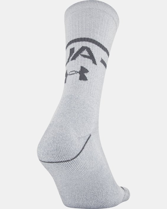 Men's UA Phenom Crew Novelty – 3-Pack Socks, White, pdpMainDesktop image number 3