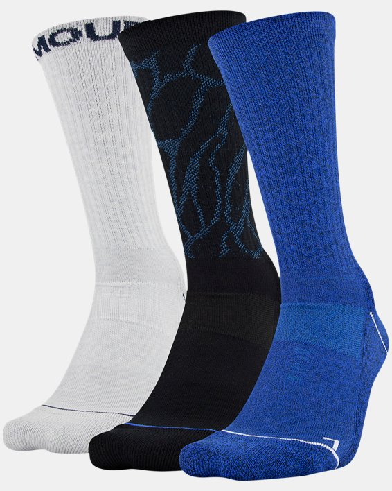 Men's UA Phenom Crew Novelty – 3-Pack Socks, Blue, pdpMainDesktop image number 8