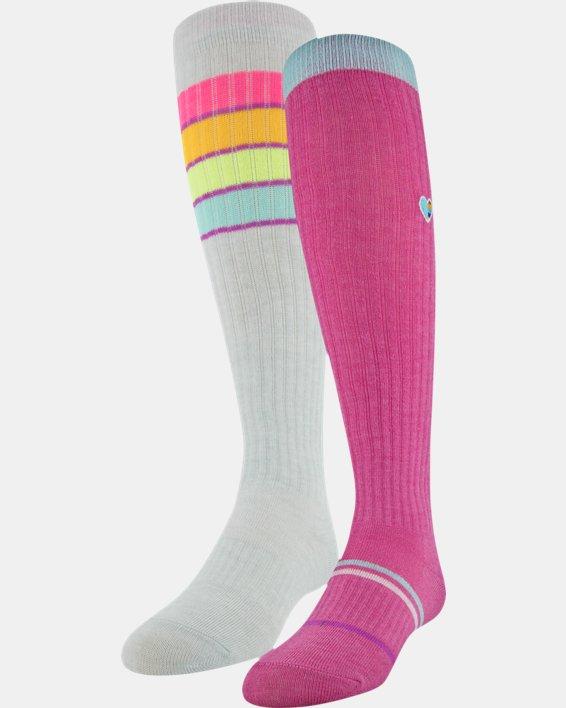 Girls' UA Over-The-Calf – 2-Pack Socks, Pink, pdpMainDesktop image number 6