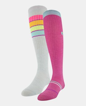 low priced 98589 be35b Girls  UA Over-The-Calf – 2-Pack Socks 1 Color Available