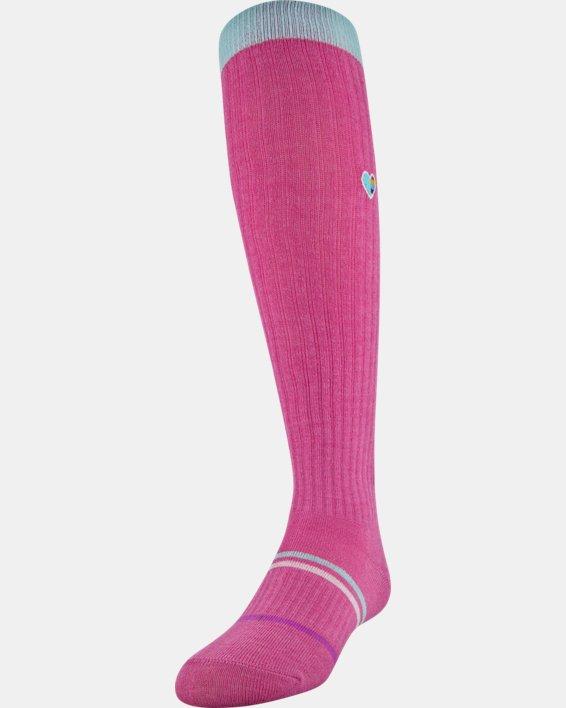 Girls' UA Over-The-Calf – 2-Pack Socks, Pink, pdpMainDesktop image number 0