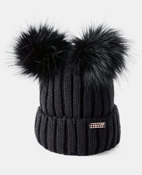 Women's UA LV Cortina Double Pom Beanie  1  Color Available $40