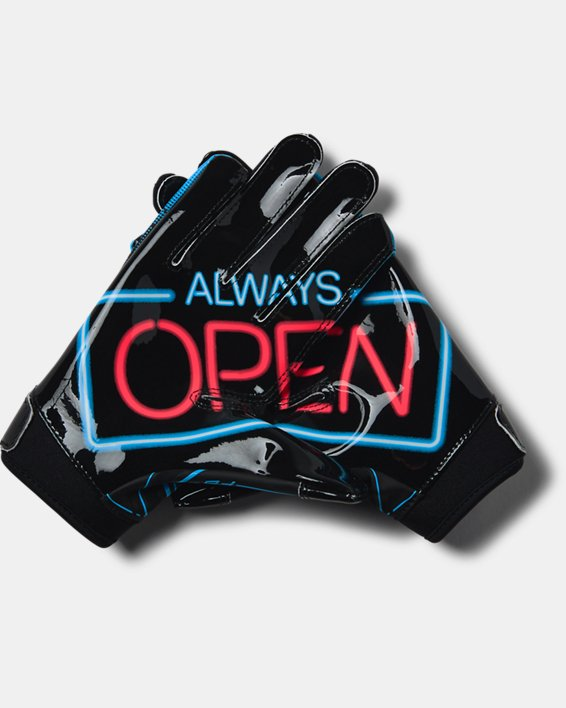 Youth UA F6 Novelty Football Gloves, Black, pdpMainDesktop image number 1