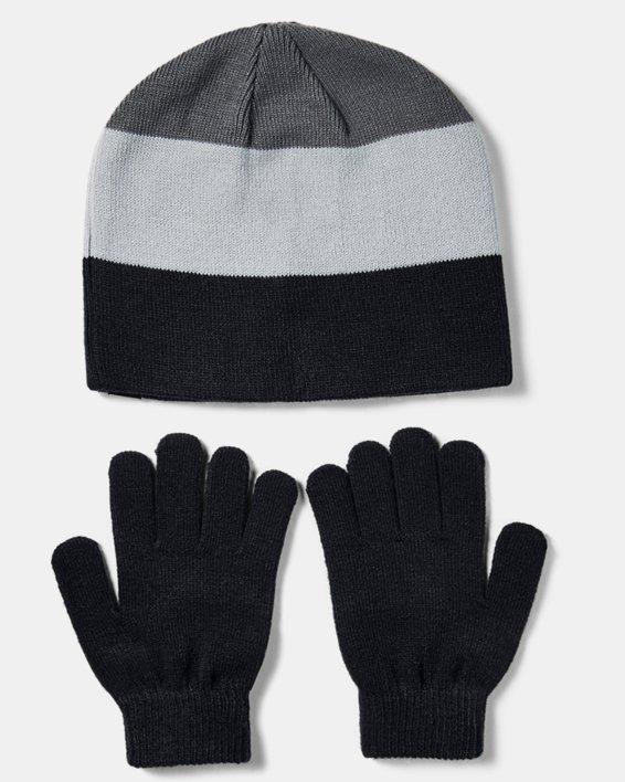 Boys' UA Beanie Glove Combo, Black, pdpMainDesktop image number 2