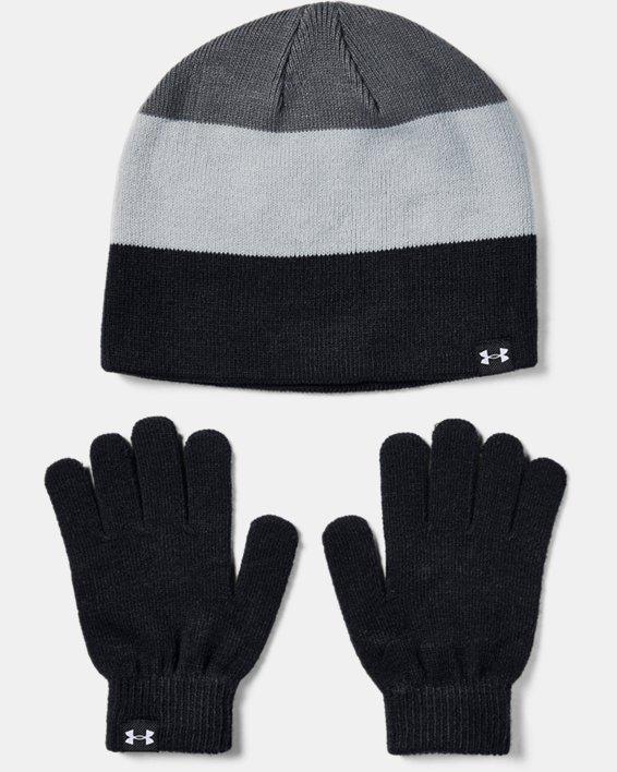 Boys' UA Beanie Glove Combo, Black, pdpMainDesktop image number 1