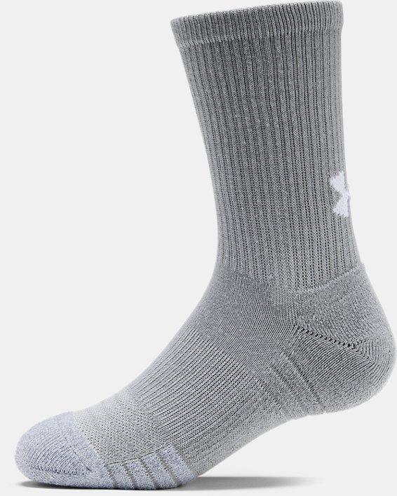 3paires de chaussettes montantes UA HeatGear® Crew pour enfant, Gray, pdpMainDesktop image number 4