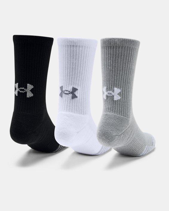 3paires de chaussettes montantes UA HeatGear® Crew pour enfant, Gray, pdpMainDesktop image number 1