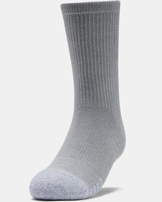 3paires de chaussettes montantes UA HeatGear® Crew pour enfant, Gray, pdpMainDesktop image number 2
