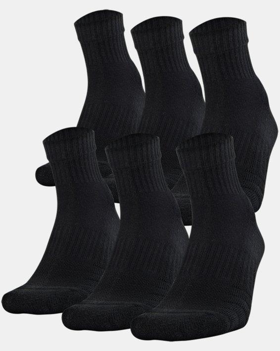 Unisex UA Training Cotton Quarter 6-Pack Socks, Black, pdpMainDesktop image number 0
