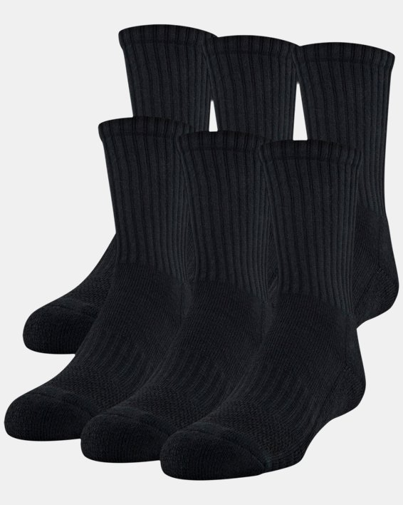 Youth UA Training Cotton Crew 6-Pack Socks, Black, pdpMainDesktop image number 0