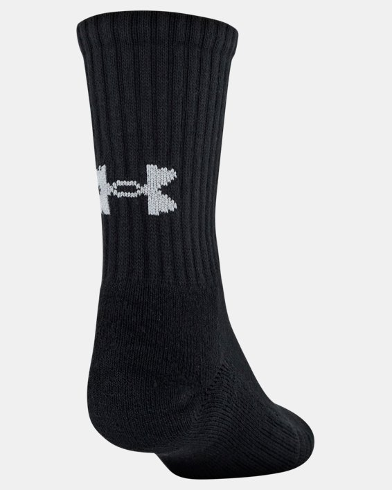 Youth UA Training Cotton Crew 6-Pack Socks, Black, pdpMainDesktop image number 2