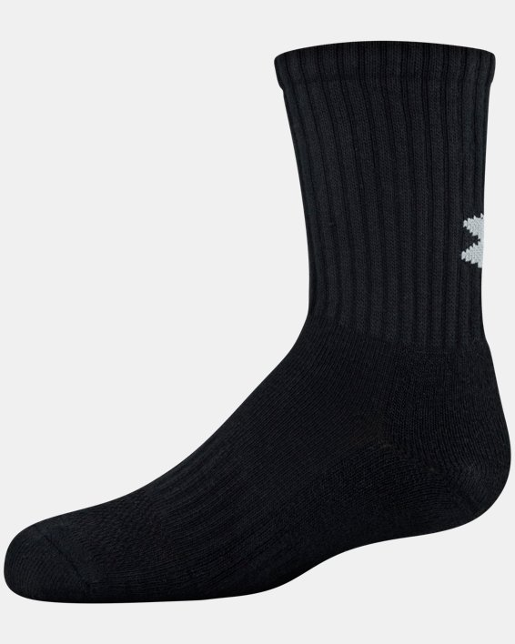 Youth UA Training Cotton Crew 6-Pack Socks, Black, pdpMainDesktop image number 3