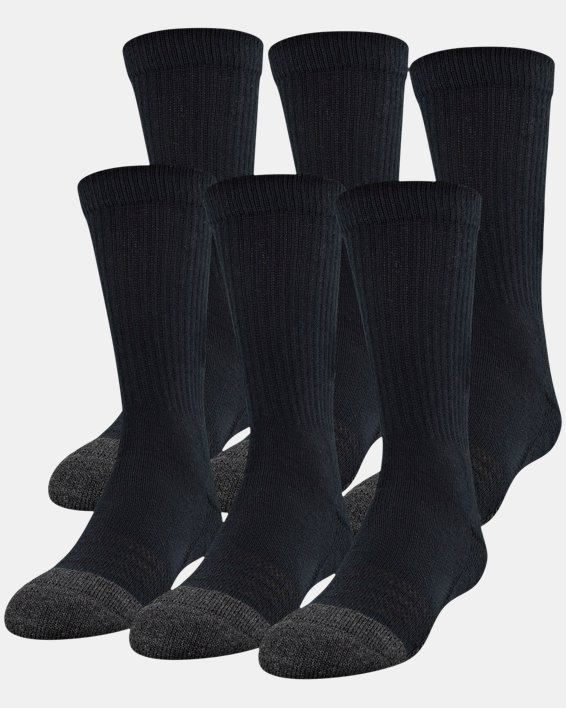 Kids' UA Performance Tech Crew Socks – 6-Pack, Black, pdpMainDesktop image number 0