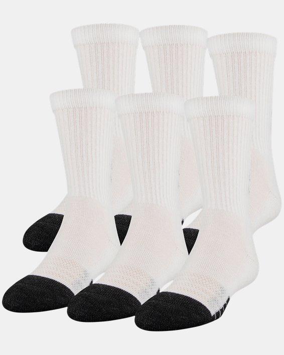 Kids' UA Performance Tech Crew Socks – 6-Pack, White, pdpMainDesktop image number 0