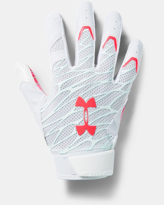 Men's UA Spotlight LE Football Gloves, White, pdpMainDesktop image number 0